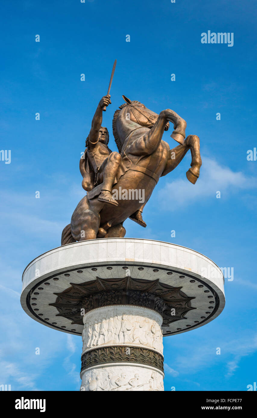 Warrior on a Horse statue, current official name of Alexander the Great monument in Skopje, Republic of North Macedonia - Stock Image