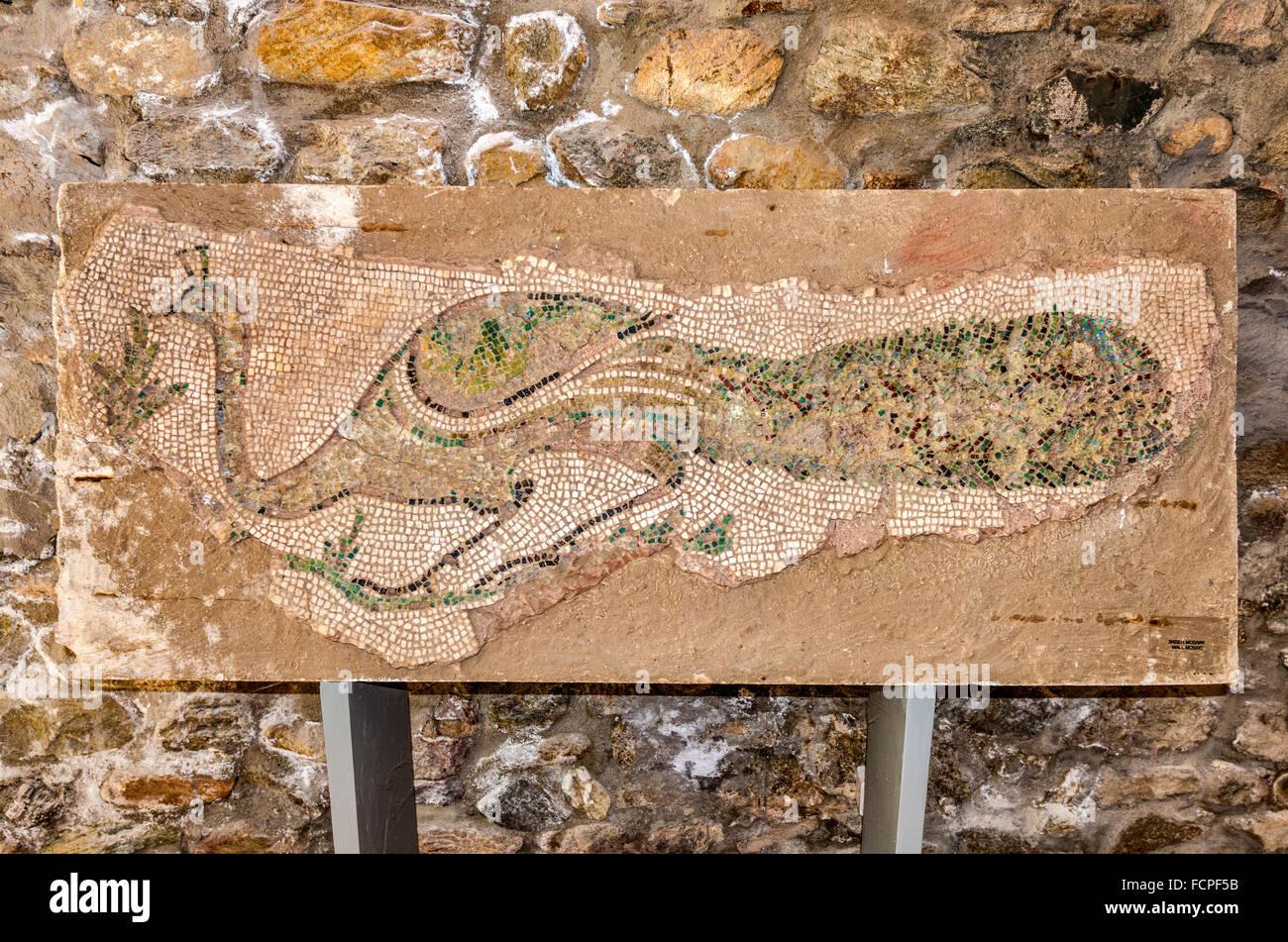 Wall mosaic, museum at Heraclea Lyncestis, ancient Greek and Roman city ruins, near Bitola, Republic of North Macedonia - Stock Image