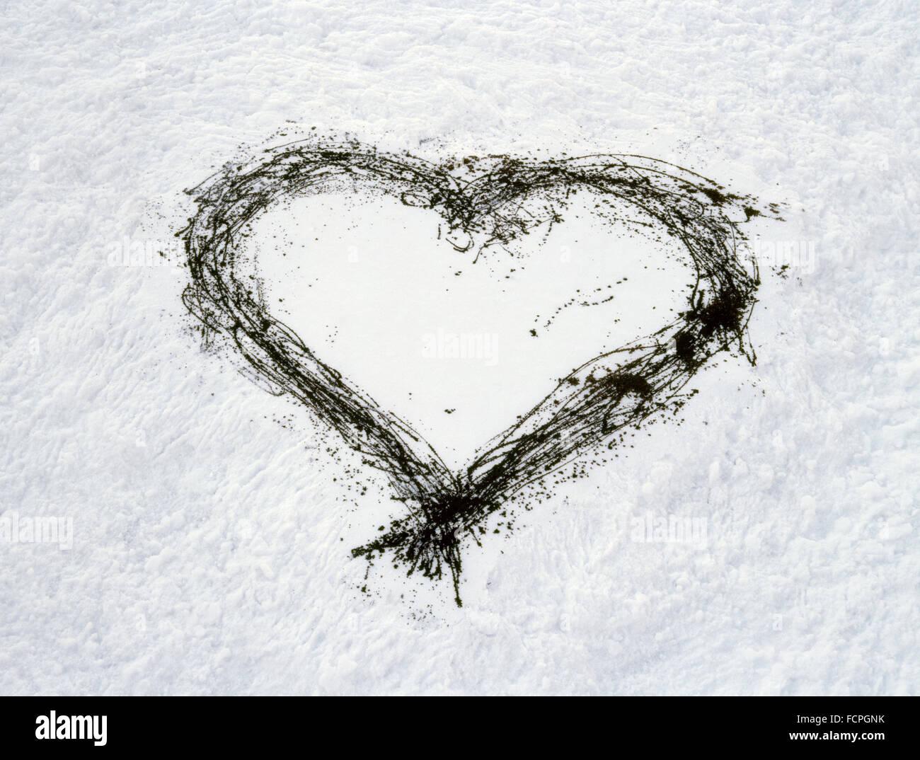 Graffiti Heart Drawn On Snow