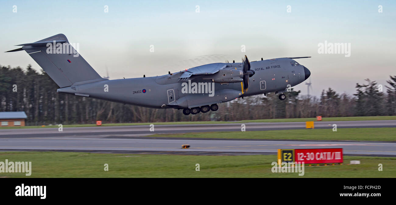 RAF Atlas (A400M) in circuit at Newquay Airport/RAF ST Mawgan - Stock Image