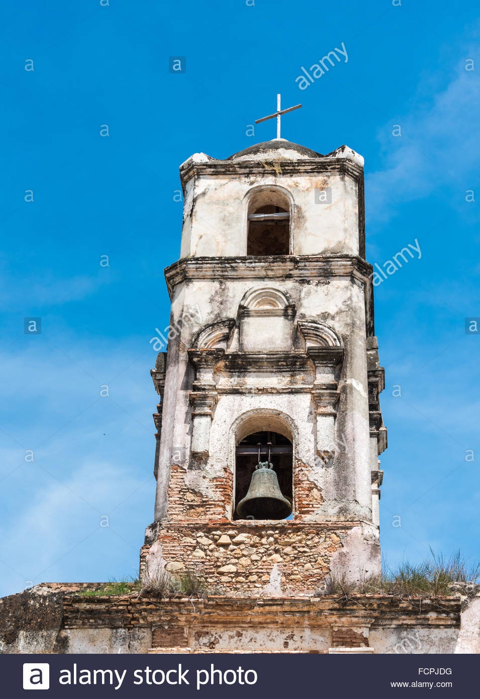 Unrepaired Santa Ana Church architectural details. This church dating from 1812 has long been abandoned and is in - Stock Image