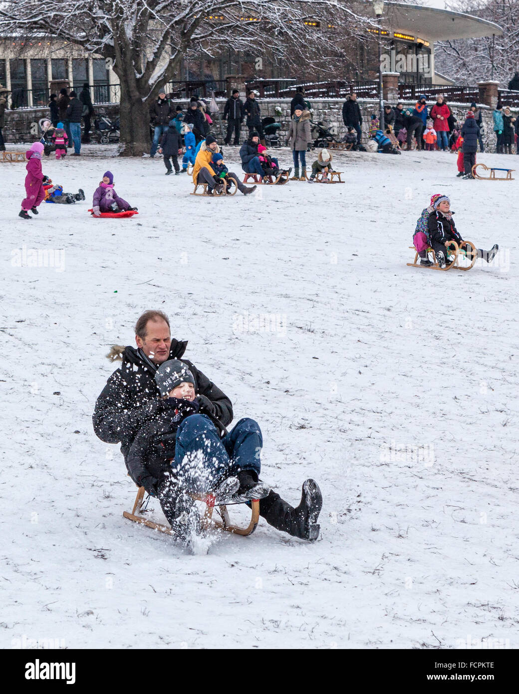 Father and child sledding on a snowy slope in a public park in winter, Berlin, Mitte, Volkspark am Weinbergsweg, - Stock Image