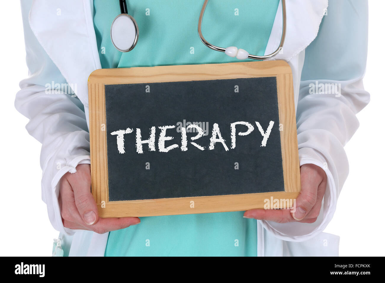 Therapy disease ill illness healthy health doctor with sign - Stock Image