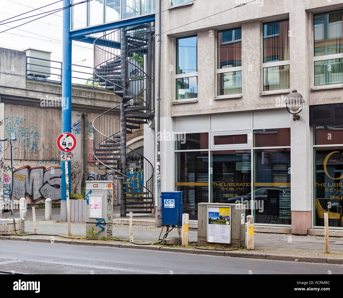 Berlin, The Liberate Bar exterior with spiral staircase Stock Photo ...
