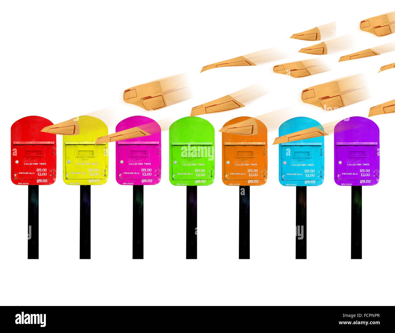7 color postbox for a week and brown envelope - Stock Image
