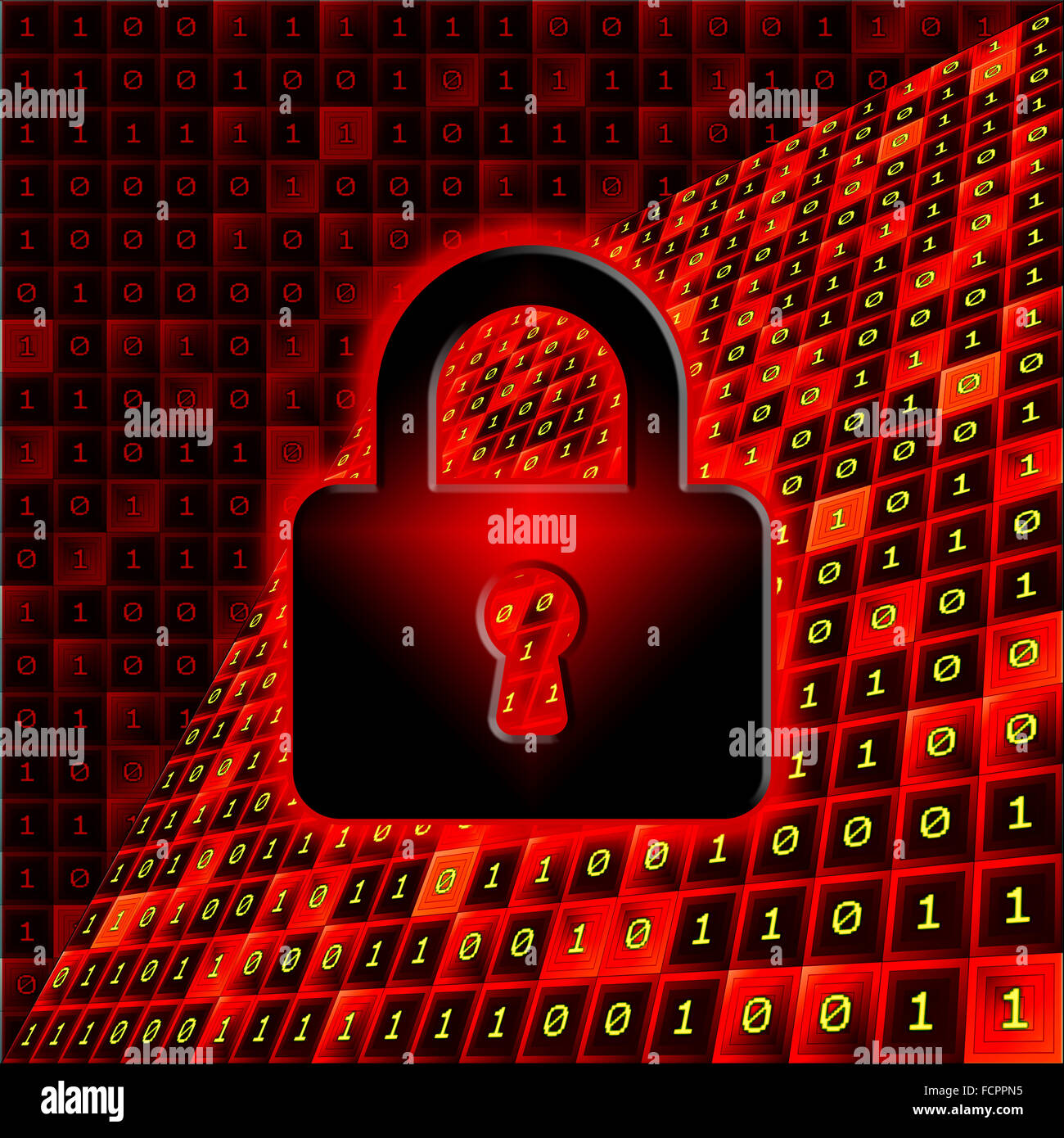 Padlock on a red and black background with bits pattern. Secure data concept. - Stock Image