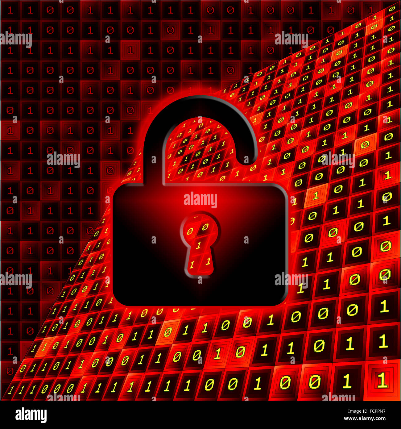 Open padlock on a red and black background with bits pattern. Unprotected data concept. - Stock Image
