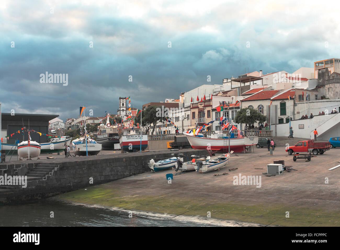 Harbour of Vila Franca do Campo. Sao Miguel island, Azores islands, Portugal. - Stock Image