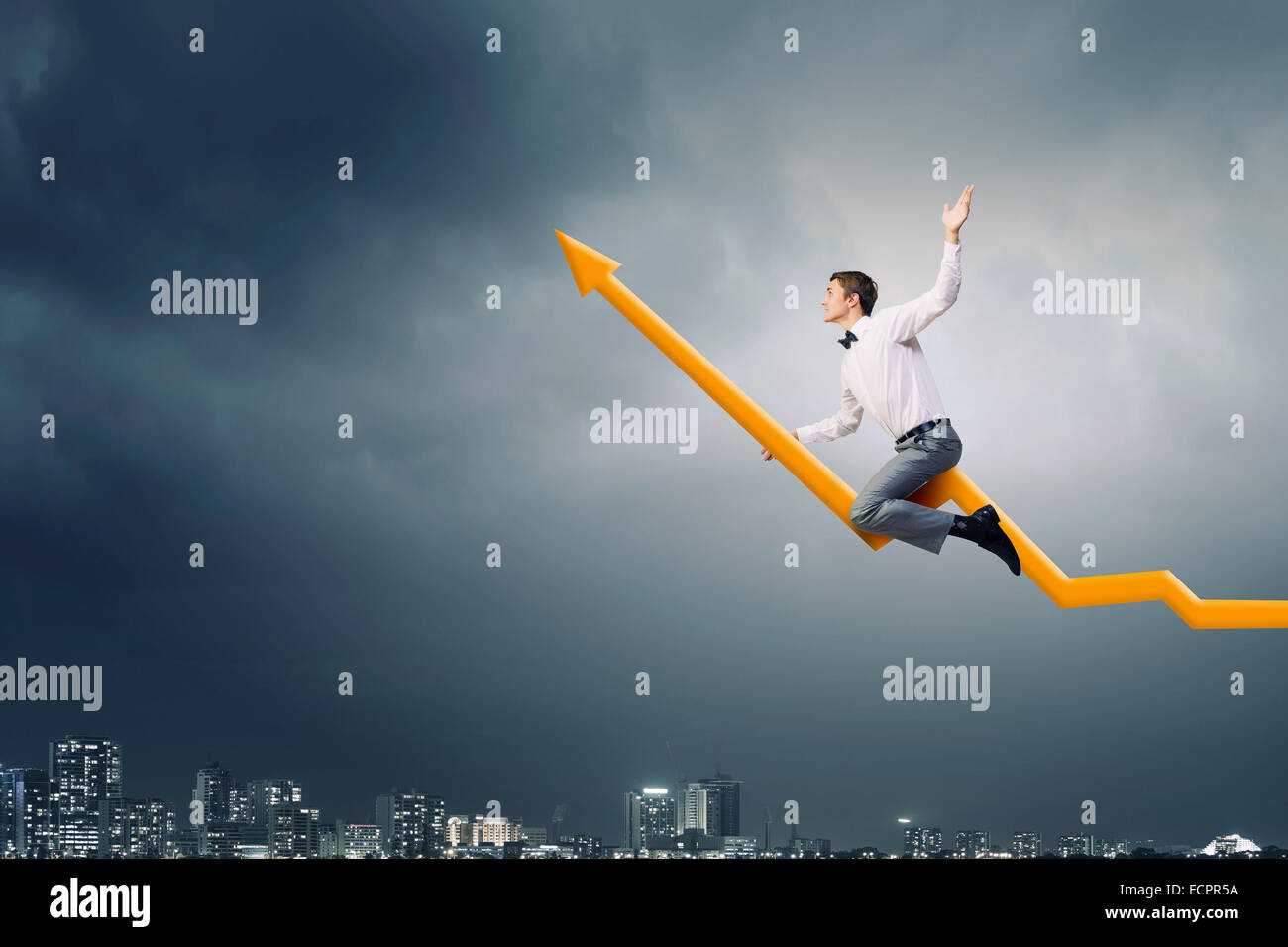 Concept of anti crisis with businessman that tames statistics diagram - Stock Image