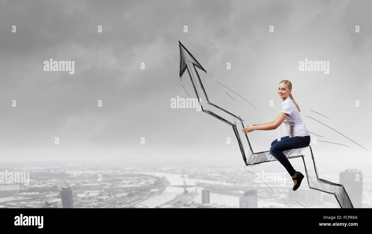 Concept of anti crisis with businesswoman that tames statistics diagram - Stock Image