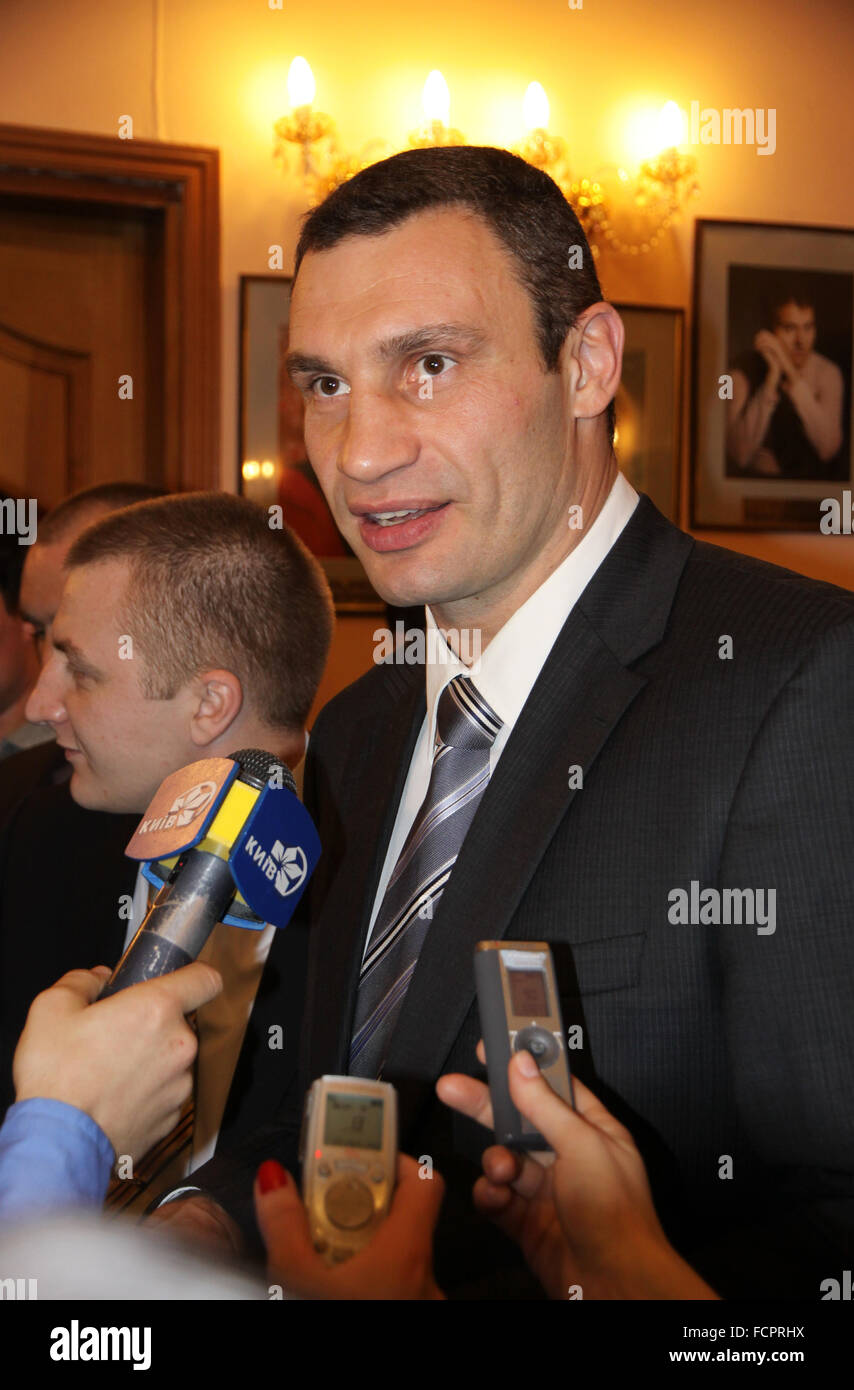 Famous boxer and the current WBC World heavyweight champion Vitali Klitschko gives an interview - Stock Image