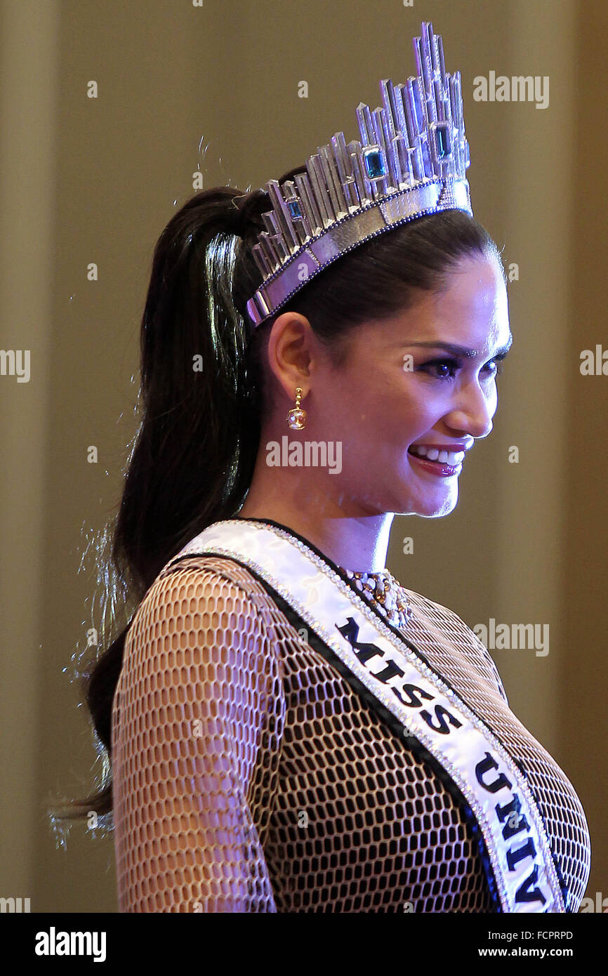 Quezon City, Philippines. 24th January, 2016. Miss Universe 2015 Pia Alonzo Wurtzbach from the Philippines attends - Stock Image