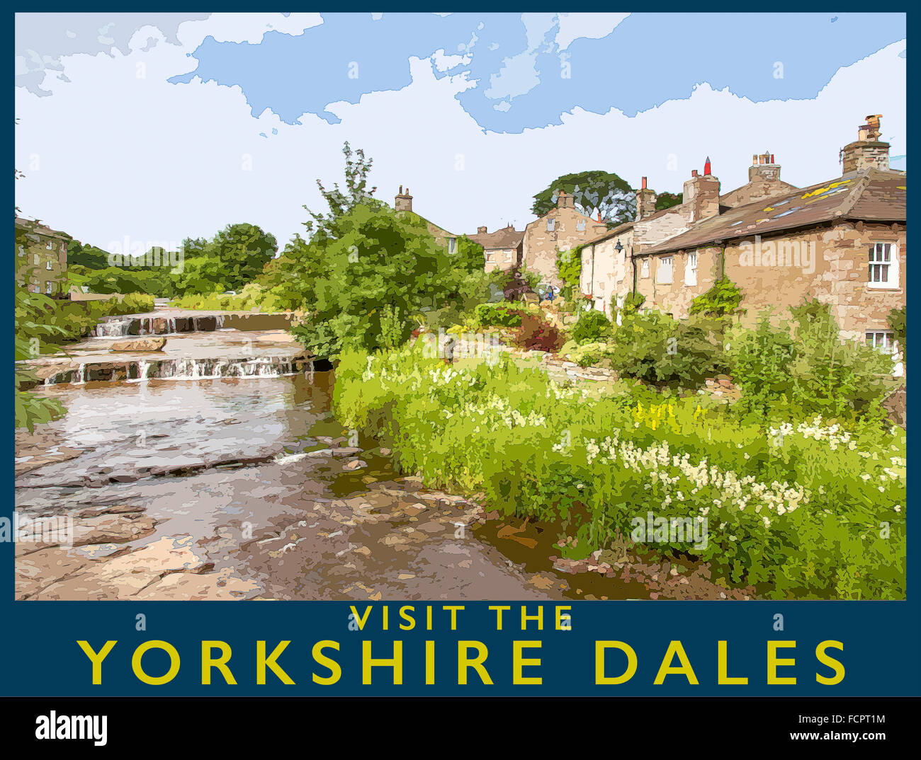 A poster style interpretation of the village of Gale, Wensleydale, Yorkshire Dales National Park, North Yorkshire, - Stock Image