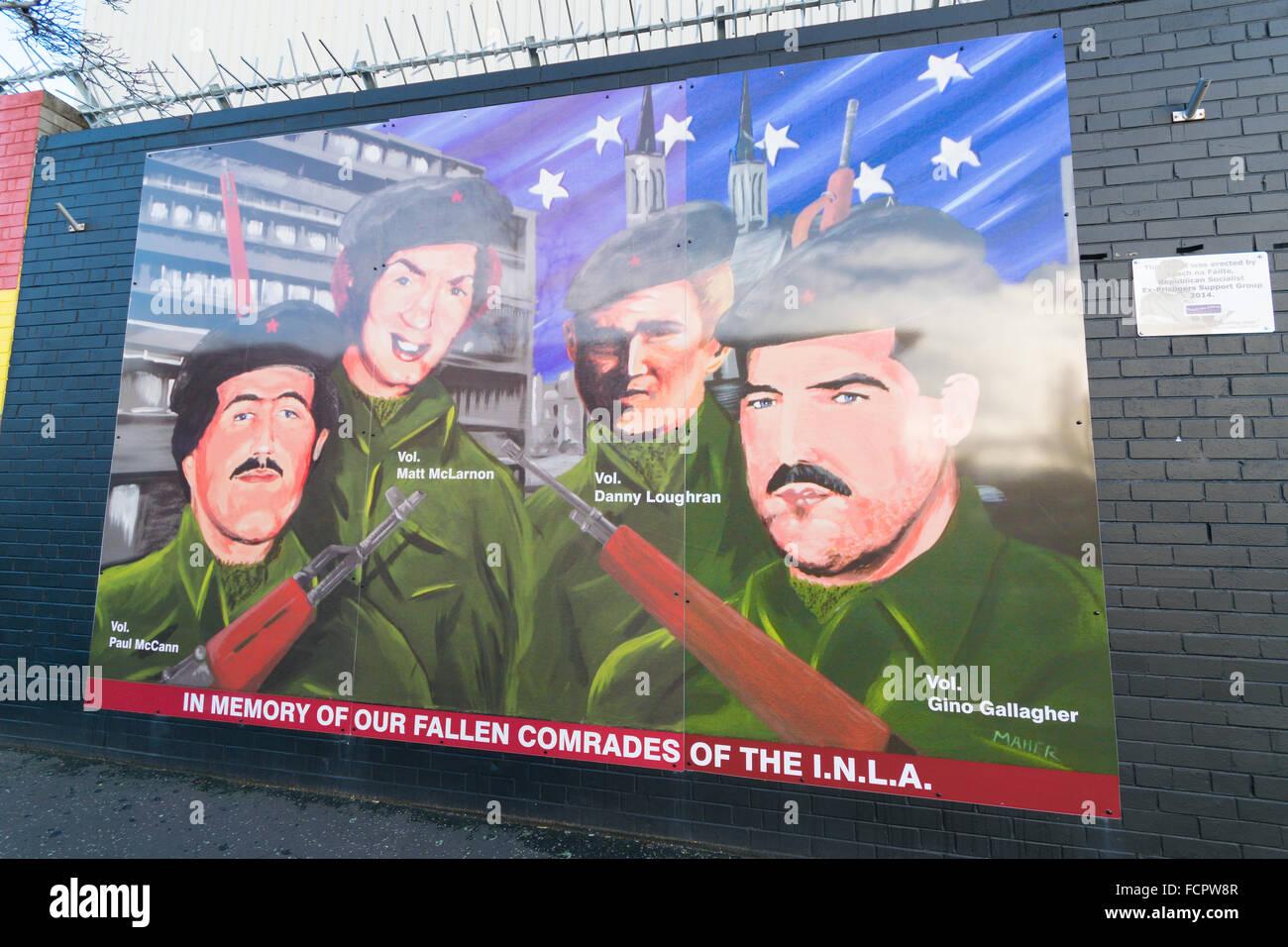 INLA mural in memory of their fallen comrades at international wall at Belfast Falls Road. - Stock Image