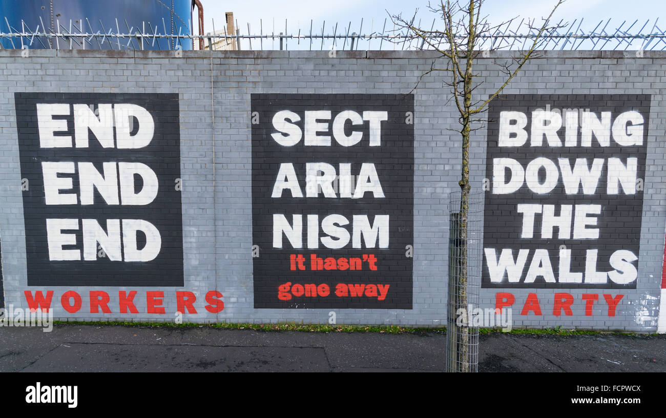 End Sectarianism mural by the Workers Party in West Belfast. - Stock Image