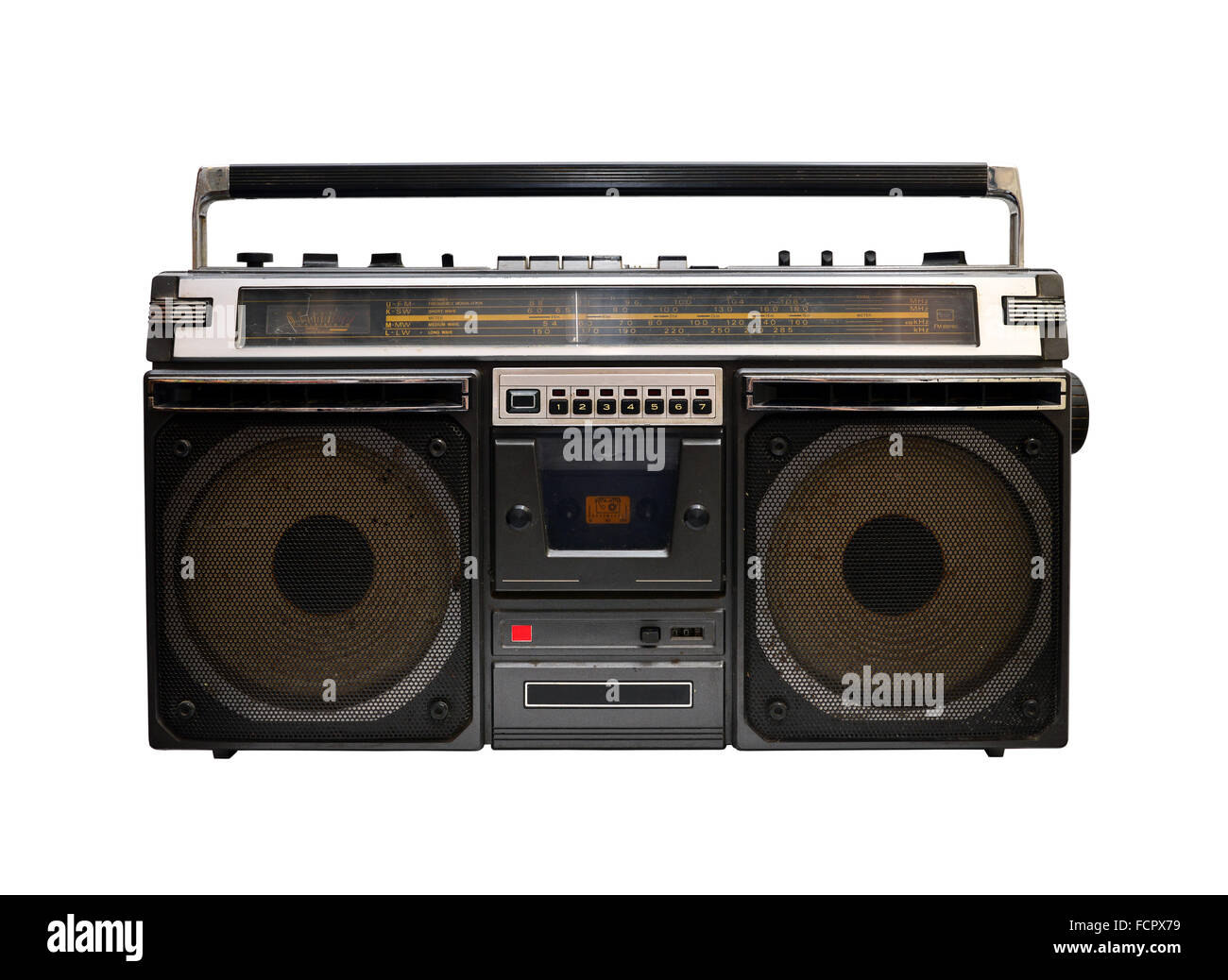 retro cassette player set isolated over white background - Stock Image