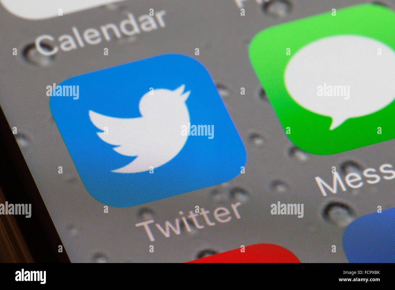 Twitter app icon on an iphone 6 screen - Stock Image