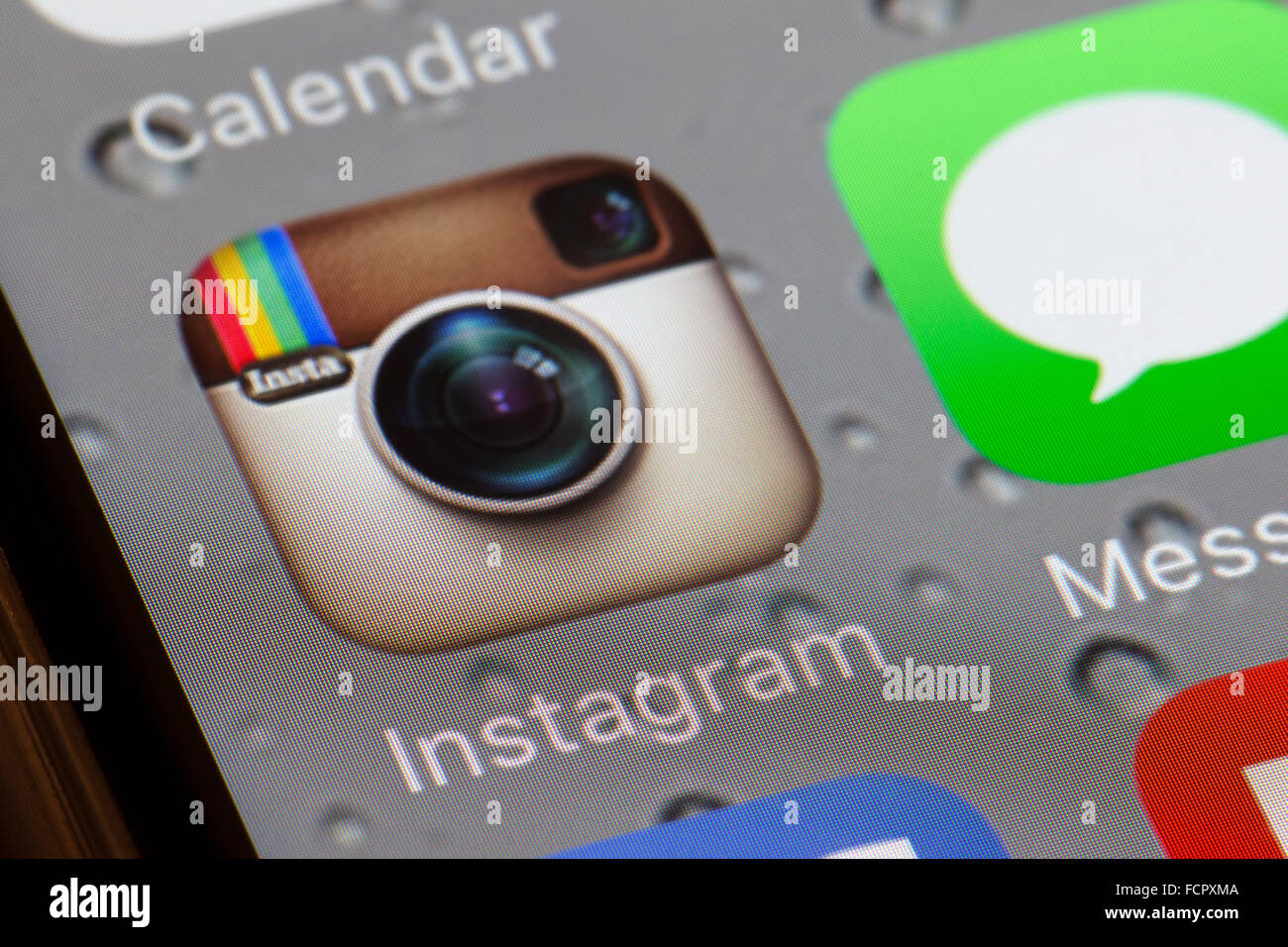 Instagram app on an iphone 6 screen - Stock Image
