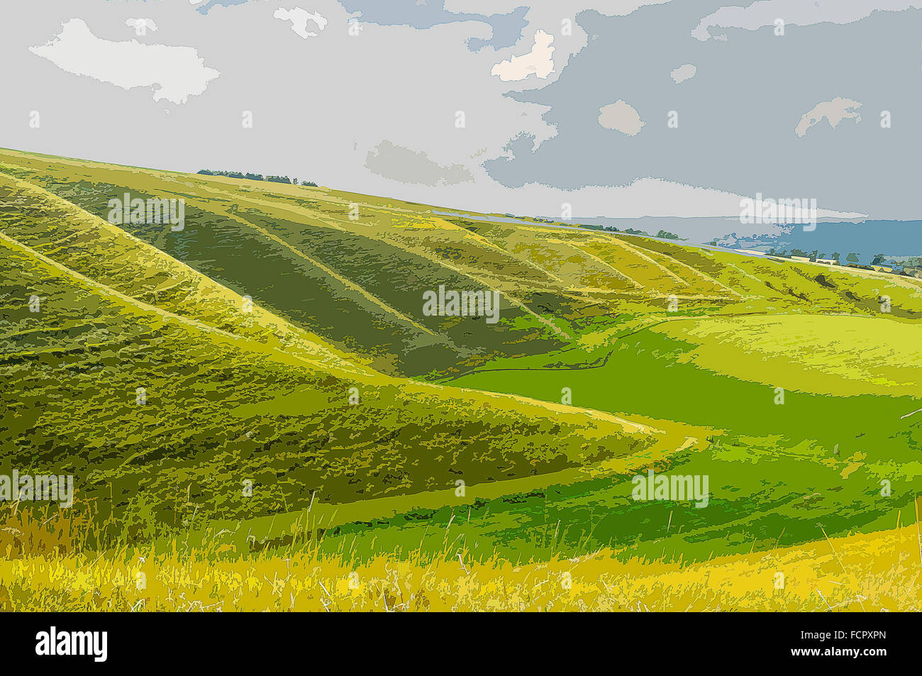 A poster style illustration from a photograph of the Oxfordshire Downs near Uffington, Oxfordshire,  England, UK Stock Photo