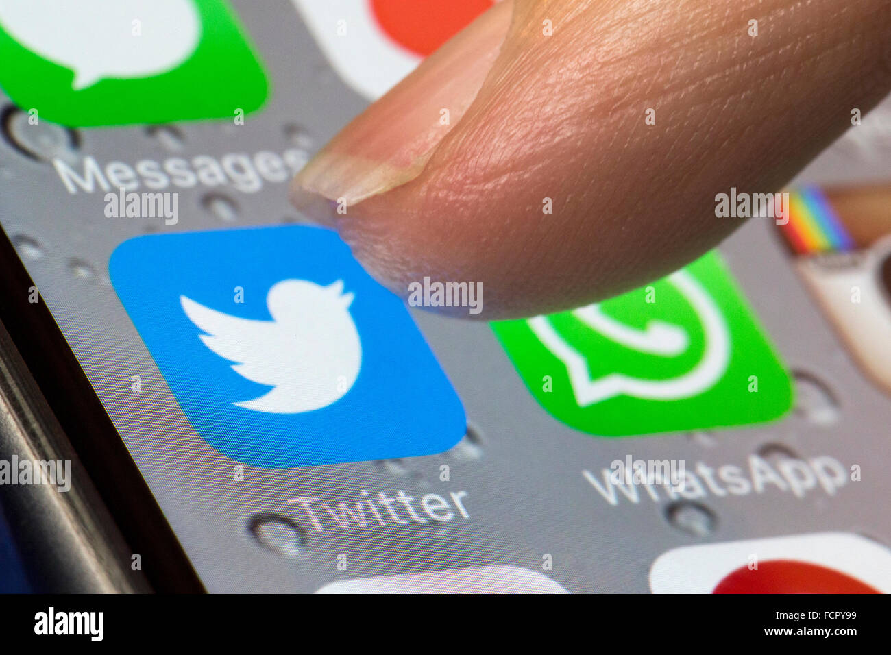 Twitter app icon on an iphone 6 - Stock Image