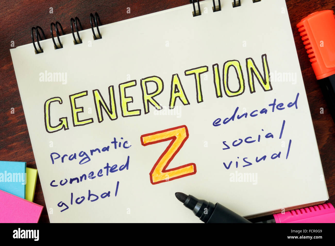 Notepad with generation z on the wooden table. - Stock Image