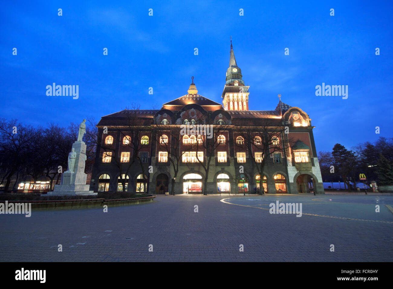Subotica City Hall at blue hour - Stock Image
