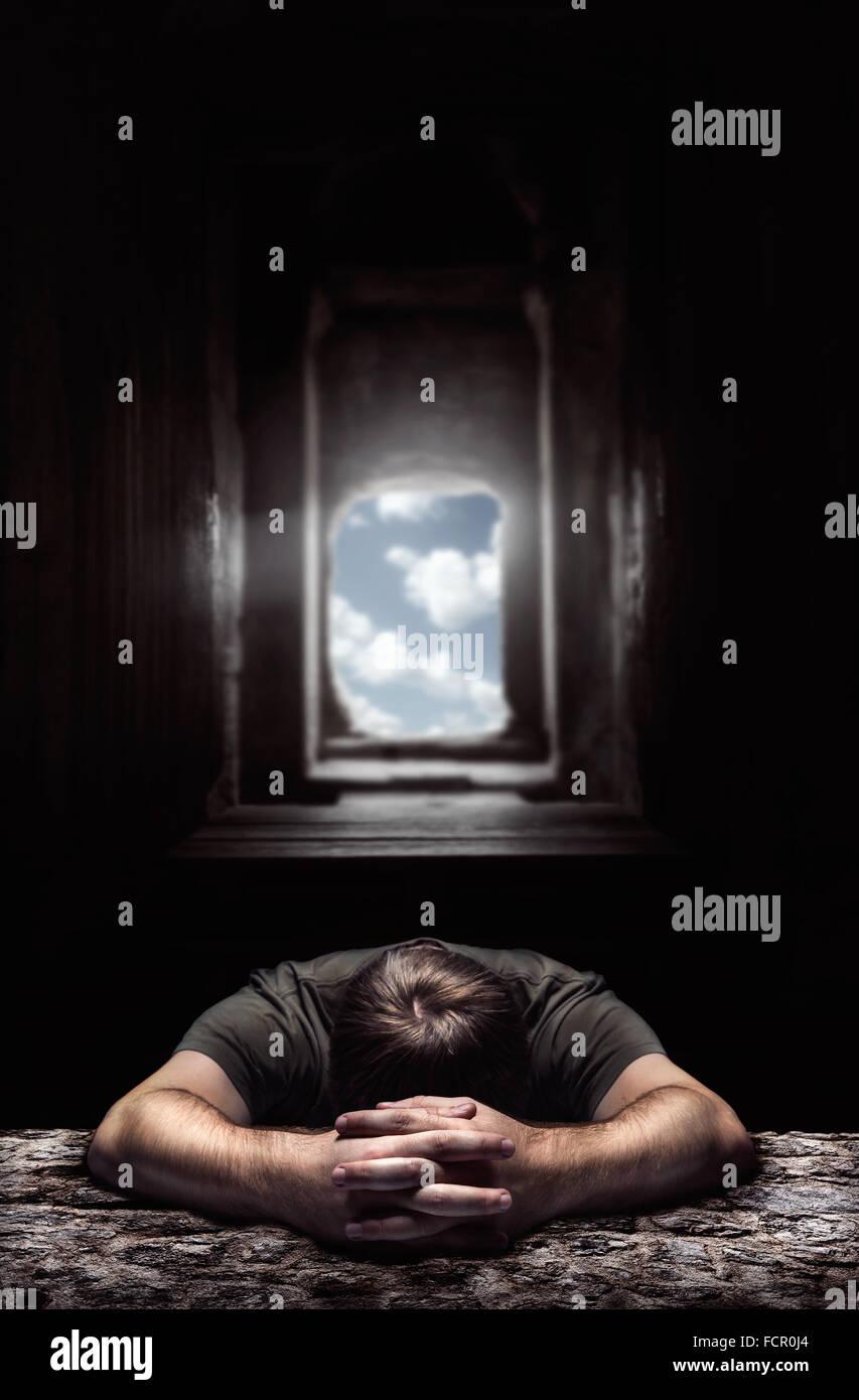 Sleeping man - Stock Image