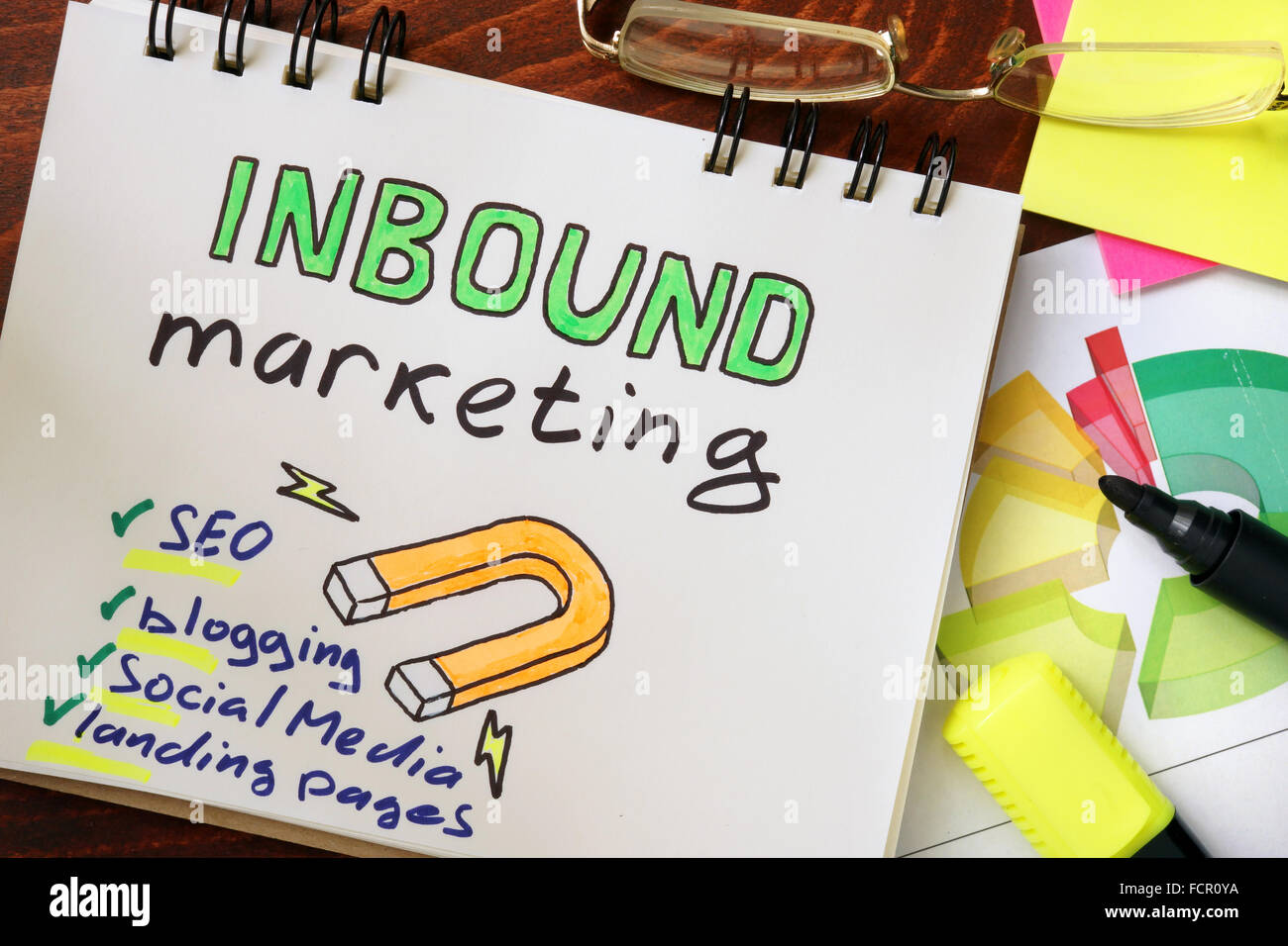Notepad with inbound marketing on the wooden table. - Stock Image