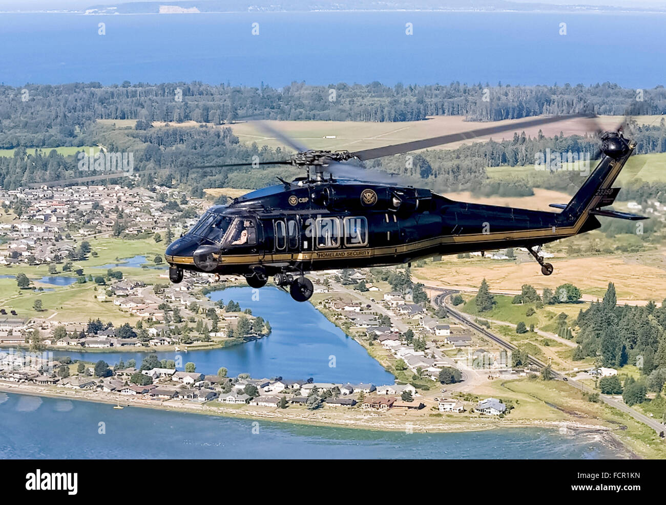 US Customs and Border Protection CBP Office of Air and Marine unit operating a Sikorsky UH-60 Blackhawk helicopter Stock Photo