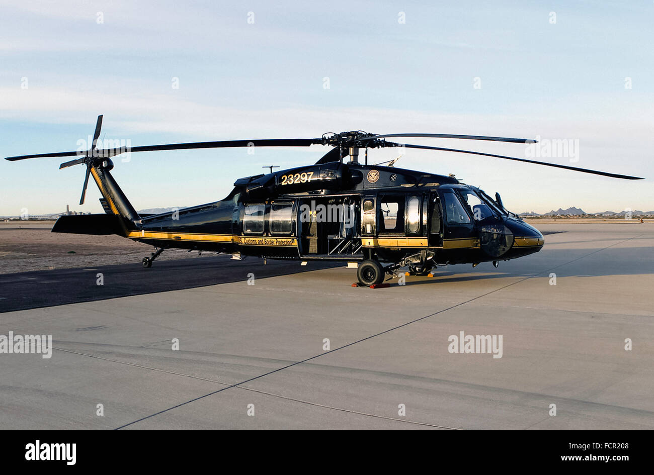 US Customs and Border Protection CBP Office of Air and Marine unit Sikorsky UH-60 Blackhawk helicopter providing - Stock Image