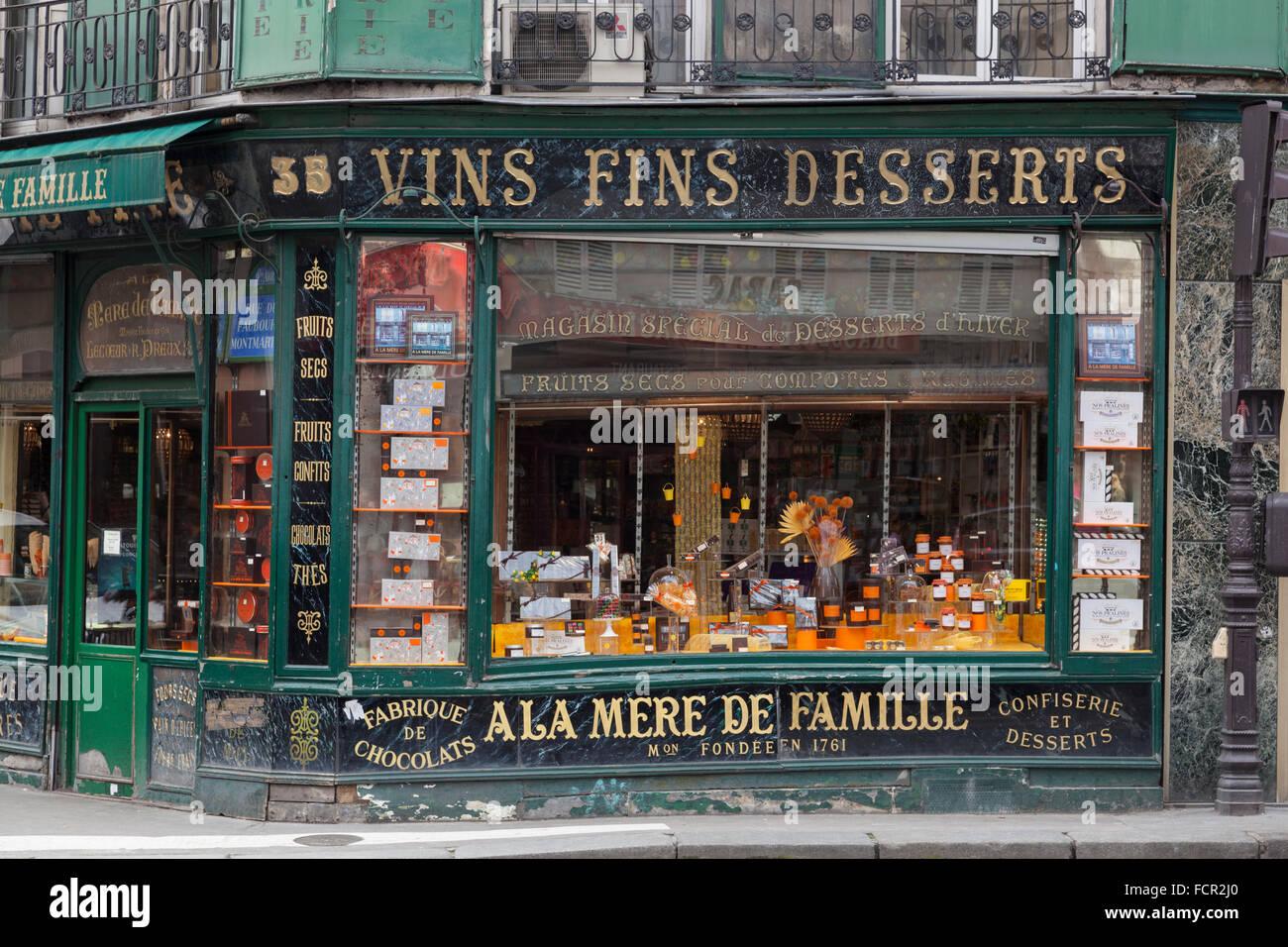 A la Mere de Famille, Paris's oldest chocolate shop in the 9th Arrondissement, France - Stock Image