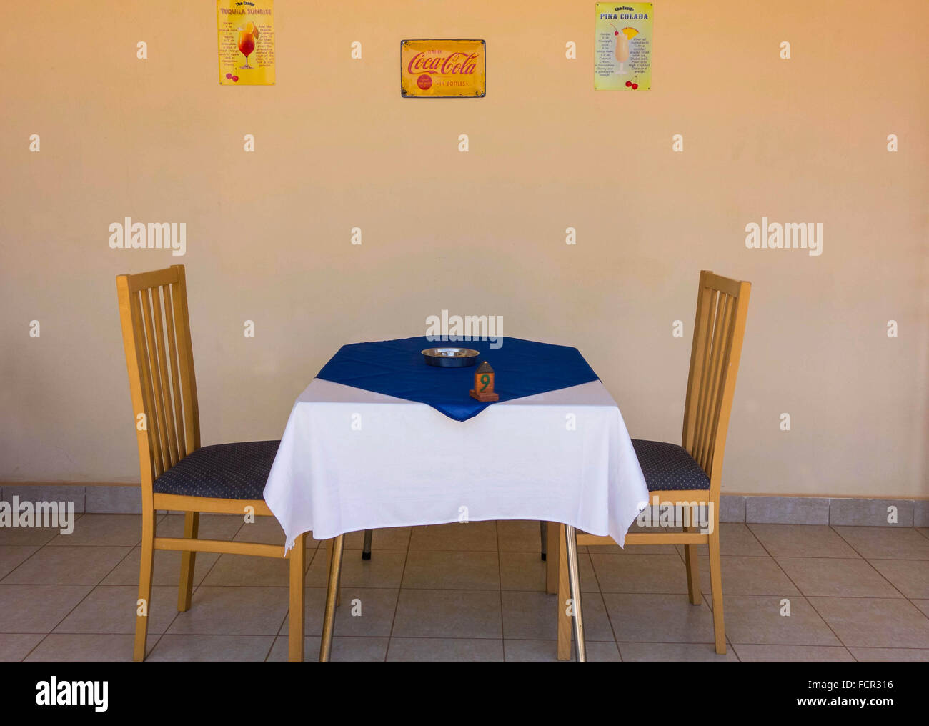 Table for two at a restaurant in Kololi Gambia - Stock Image