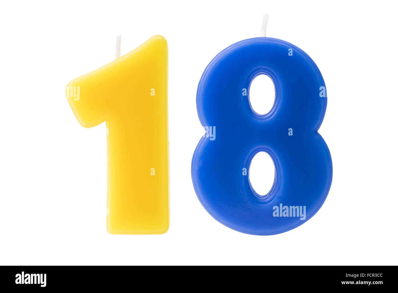 Colorful birthday candles in the form of the number eighteen on white background - Stock Image