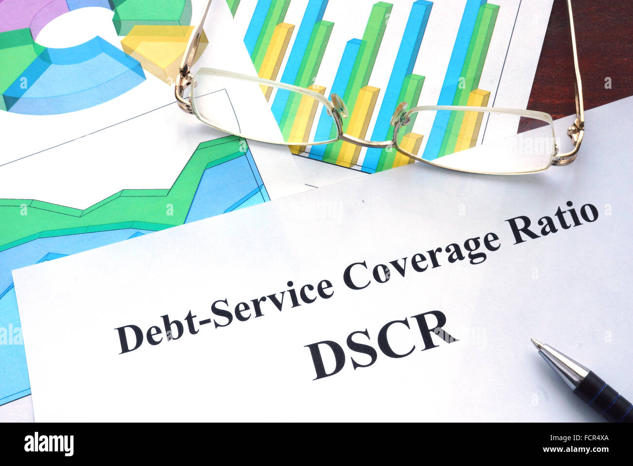 Debt-Service Coverage Ratio – DSCR form on a table. Business concept. - Stock Image
