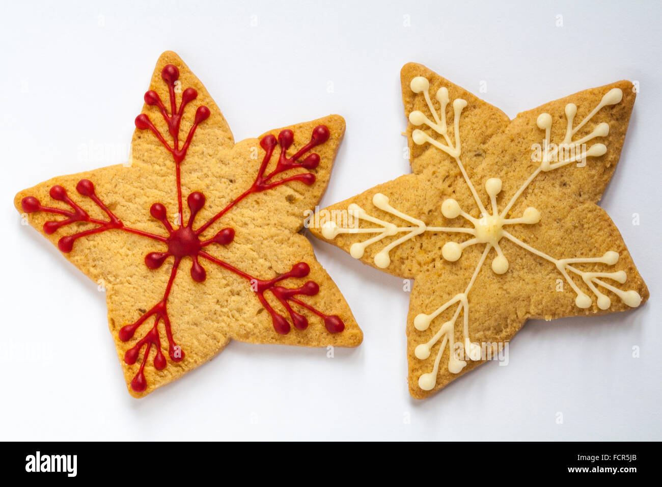 M S Hand Decorated Stem Ginger Cinnamon Star Biscuits Isolated On