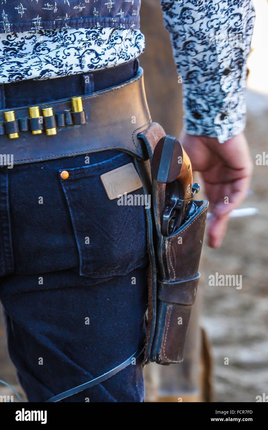 Closeup of gun in holster at Cowboy shootout at Arcadia All-Florida