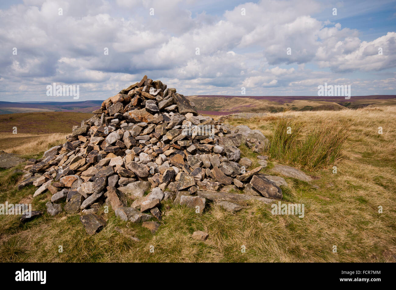 Summit Cairn on Lost Lad in the Peak District National Park. - Stock Image