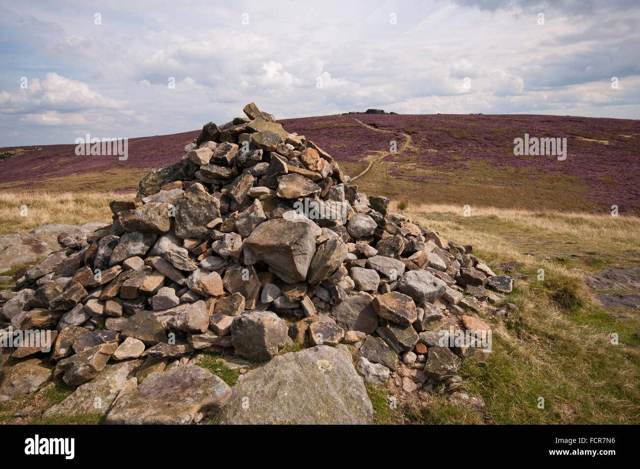 Summit Cairn on Lost Lad, with Back Tor seen in the distance, Peak District National Park. - Stock Image