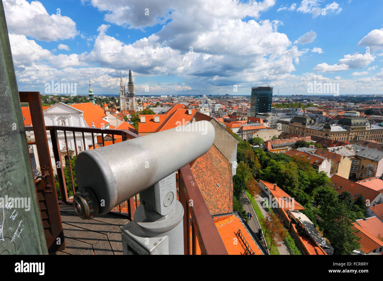 Zagreb city with binocular in front. - Stock Image