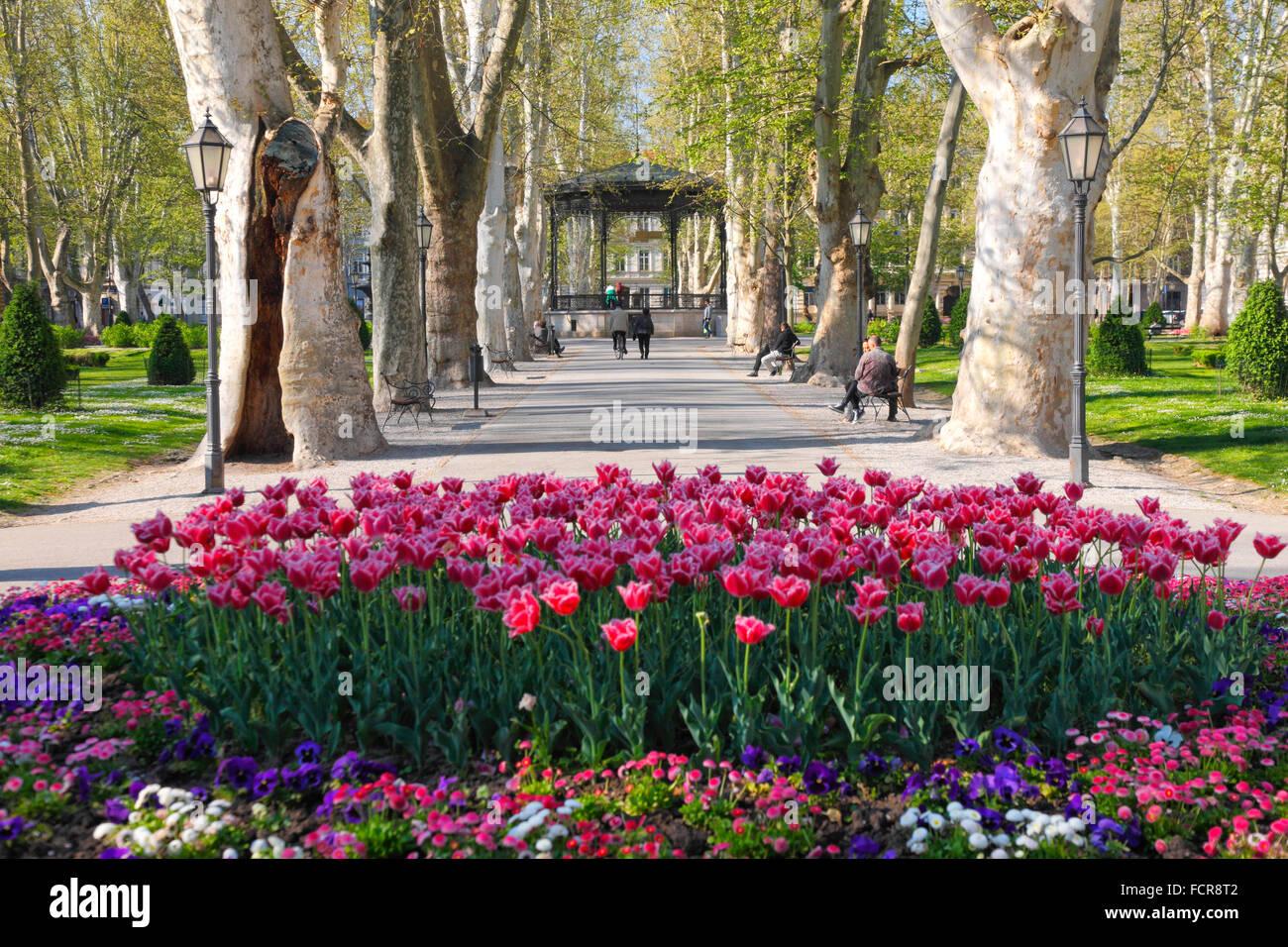 Zagreb Park Zrinjevac In Spring With Waterfall Stock Photo Alamy