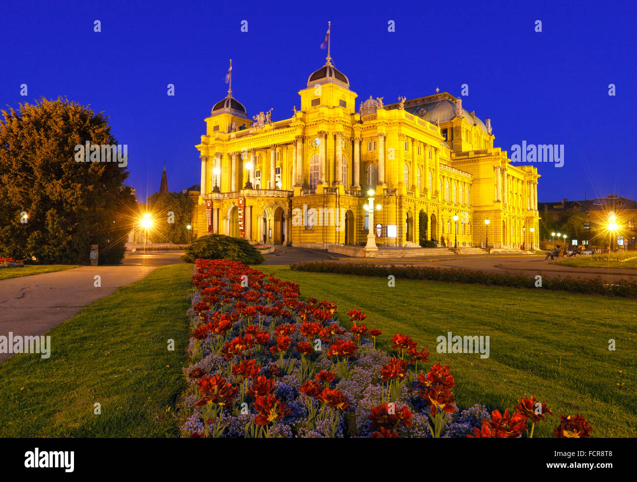 Zagreb national theater in the night Stock Photo
