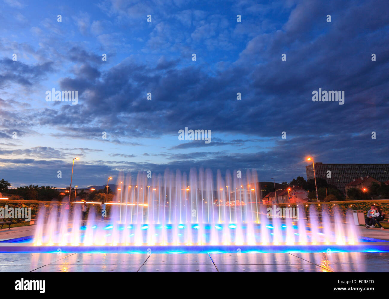 New fountain near new National Library in Zagreb, Croatia. - Stock Image