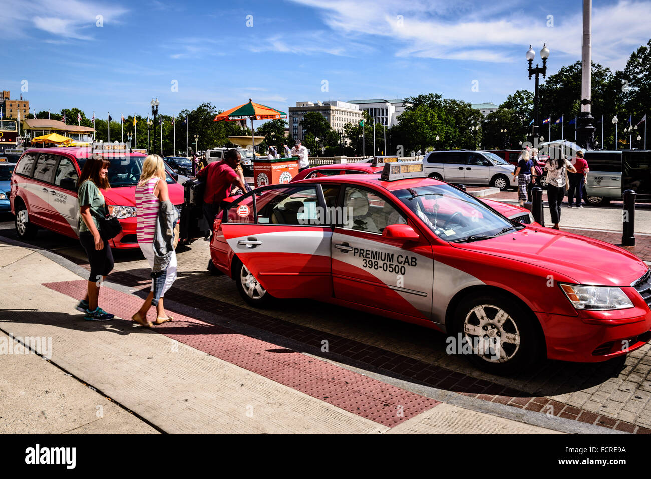DC Taxicabs in new uniform livery, Union Station, Washington DC - Stock Image