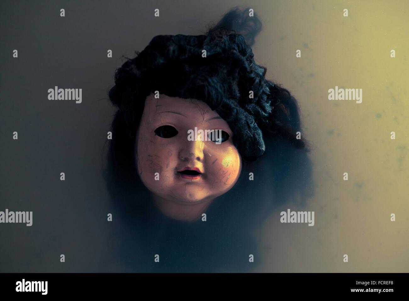 Creepy doll face - Stock Image