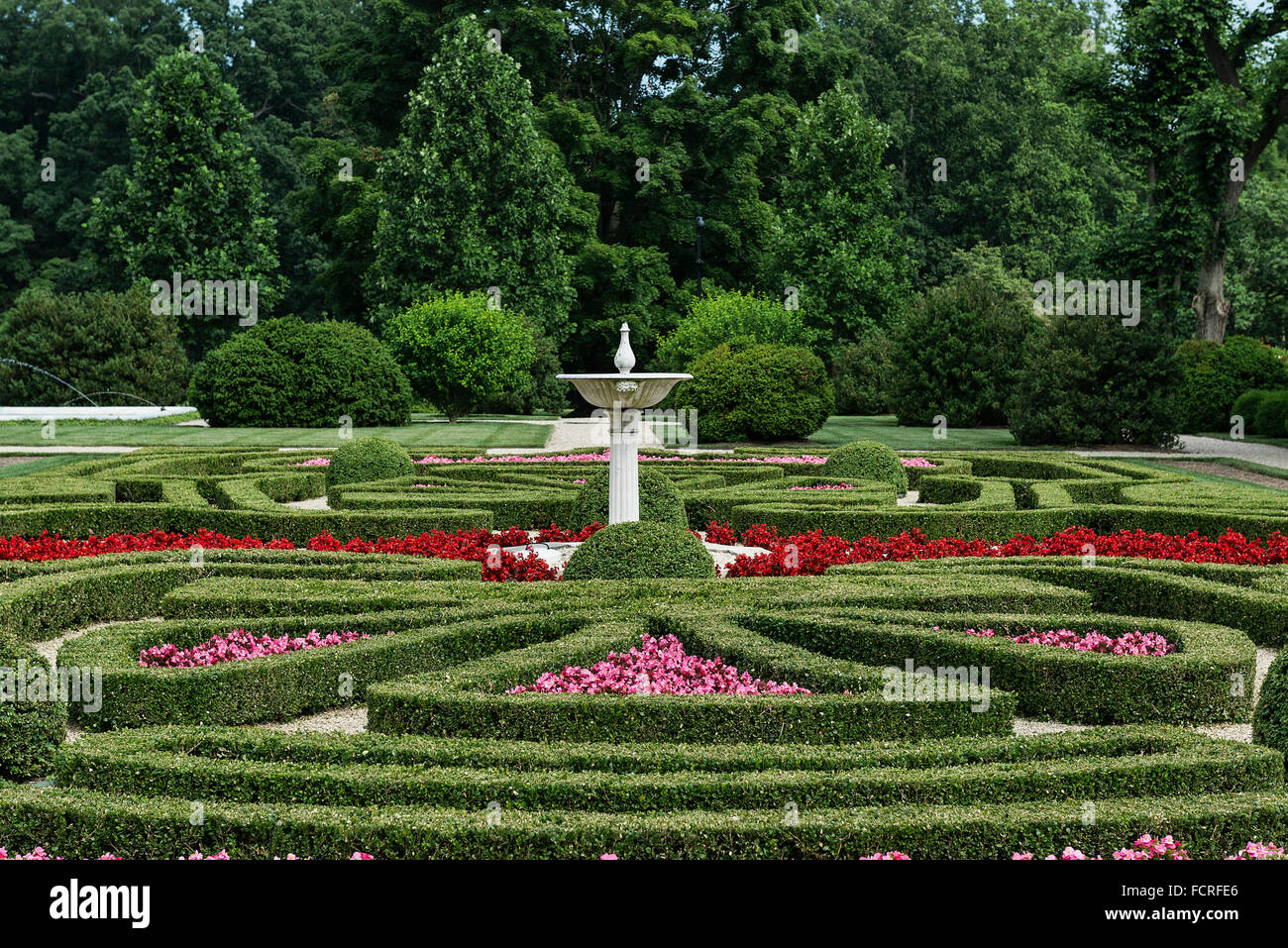Boxwood Garden, Nemours Mansion and Gardens, Wilmington, Delaware, USA - Stock Image