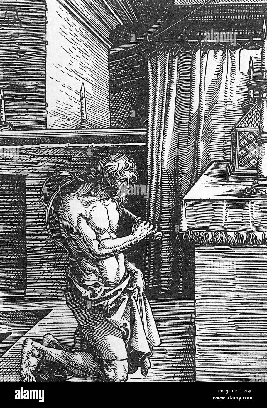 ALBRECHT DURER (1471-1528) German artist. Wood engraving of a flagellant  made in 1510