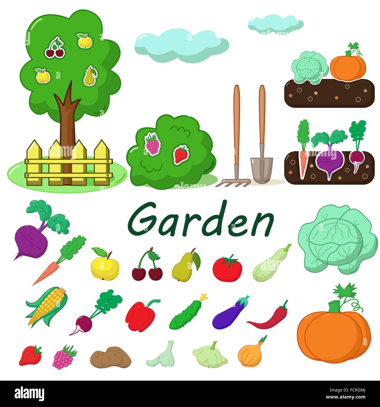 Garden with some fruits and vegetables - Vector concept - Stock Vector