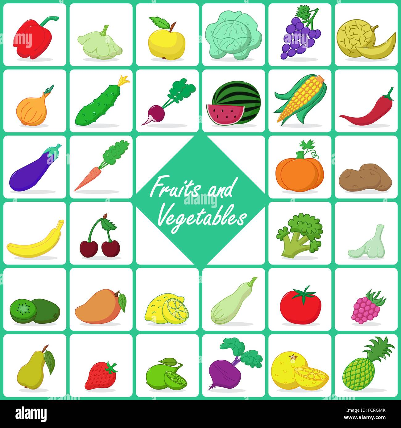 Colored icons of fruits and vegetables - Stock Vector