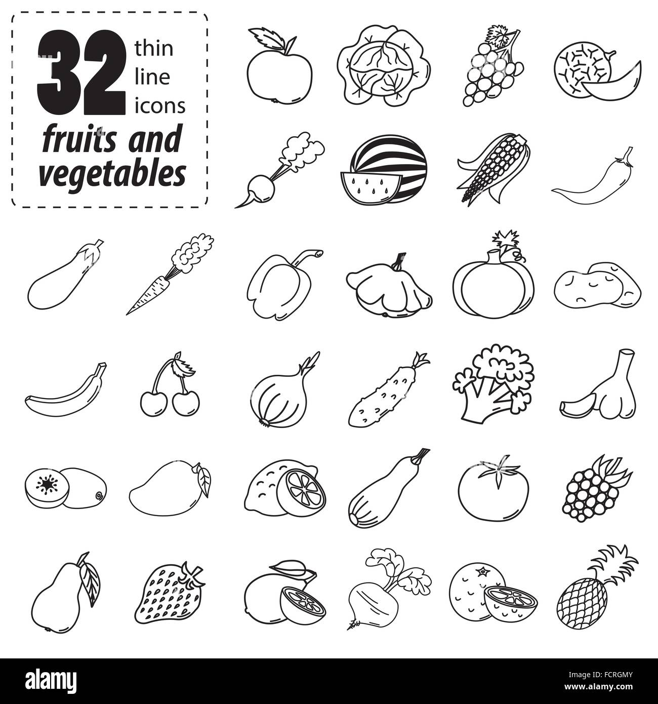 Thin line icons of fruits and vegetables - Stock Vector