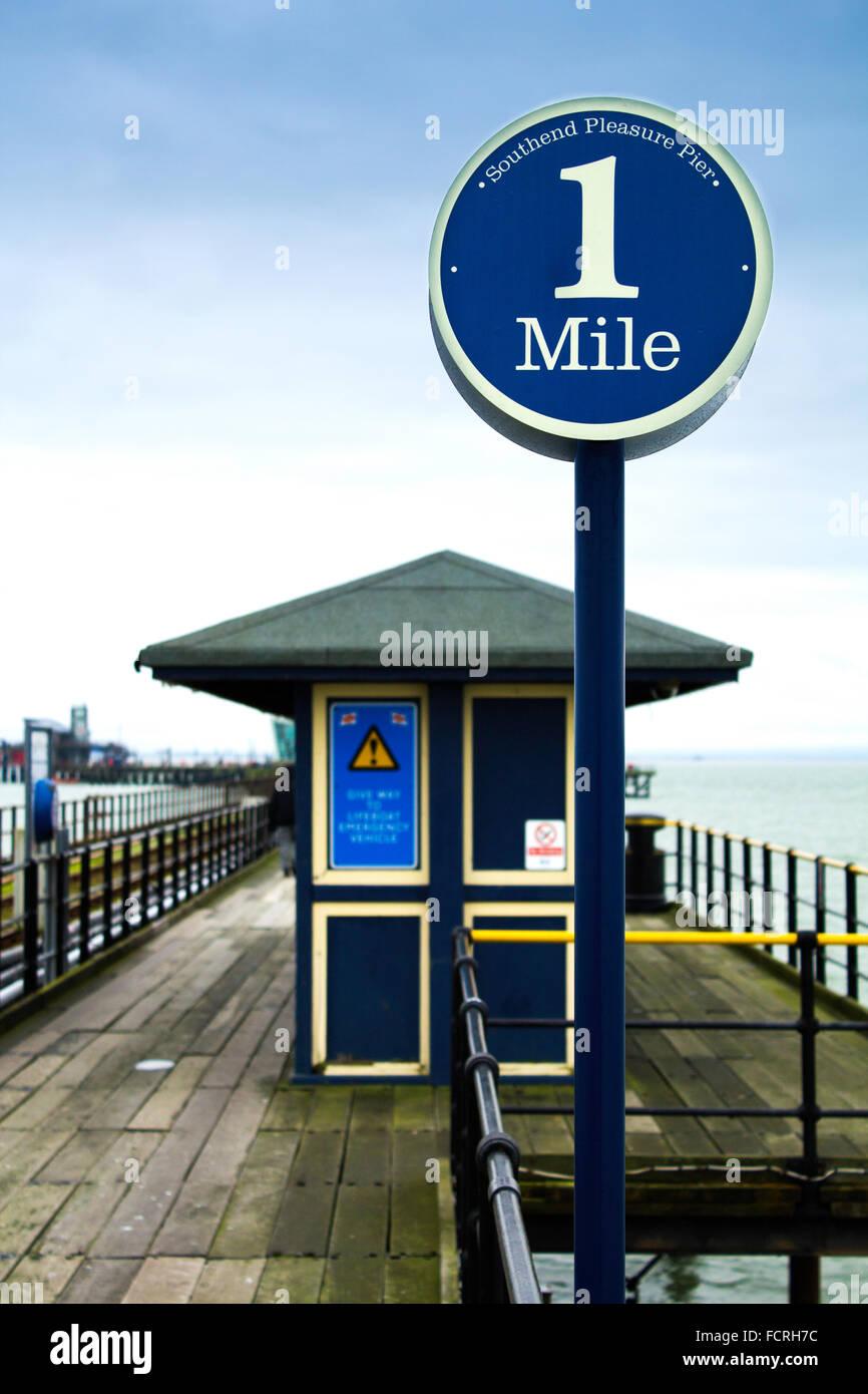 1 Mile Marker on Southend Pier - Stock Image